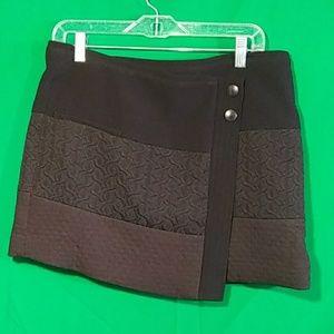 Cabi Medium black swathe textured wrap mini skirt